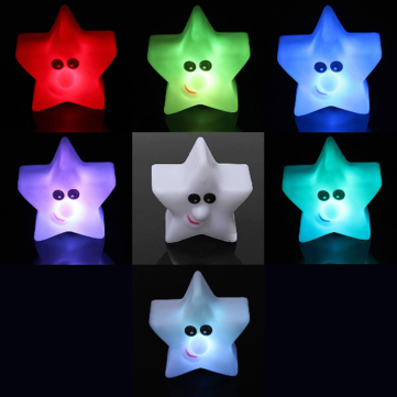 Children 6 Colors Shining Star Changing LED Lamp Decor Night Light
