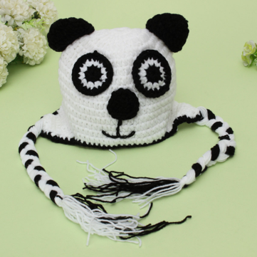 Animal Newborn Baby Dog Hat Knit Braided Tassels Cap
