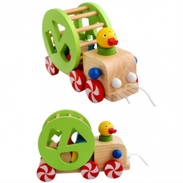 Baby Children Duck Pulling Wheel Car Geometry Tangram Assembly Pull Animal Educational Wooden Intelligent Toys