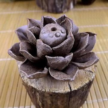 Barro artesanal proprietário de incenso cerâmico folha de lótus queimador de incenso
