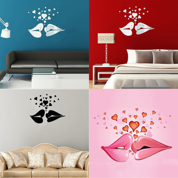 Love Kiss Lips Hearts Pattern Mirror Wall Art Stickers
