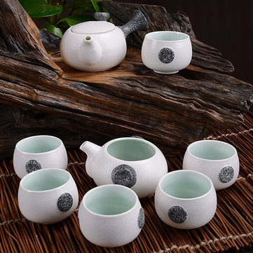 8 PCS Snow Glaze Ceramic Kung Fu Tea Set With Gift Box