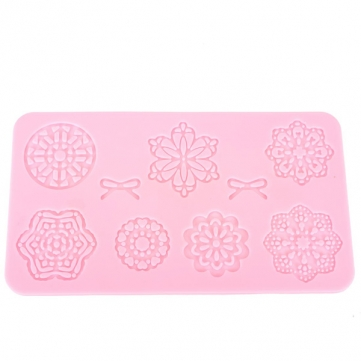 Striped Bow Flower Fondant Cake Silicone Lace Mold Decorating Molds Creative Baking Mold