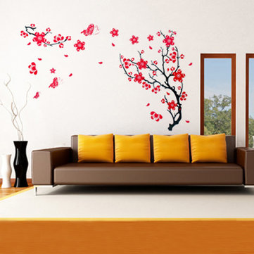 Red Plum Blossom Wall Sticker Removable Art DIY Home Decor