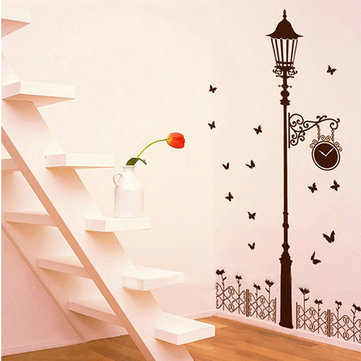 Fence Street Light Butterfly Wall Sticker Removable Decal