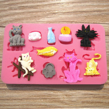 Silicone Cats Shape Cake Fondant Mold Cake Decoration Tool
