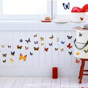 42 قطع دي ملون الفراشات الرئيسية للإزالة ديكور ملصقات الحائط للأطفال غرفة الفن صائق