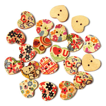 20Pcs Mixed Heart Shaped Printed Pattern Wooden Craft Buttons