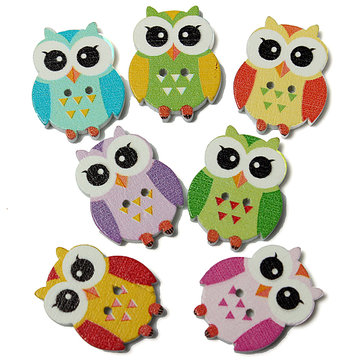 100pcs 2 Holes Multicolor Cute Owl Pattern Wooden Buttons