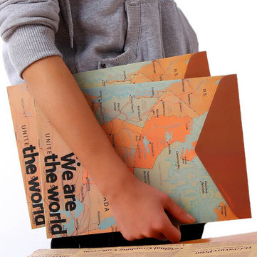 Stationery Vintage World Map Style Paper Folder Bag