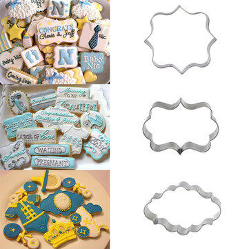 3Pcs Plaque Frame Fondant Cookie Cutter Set Square Rectangle Oval