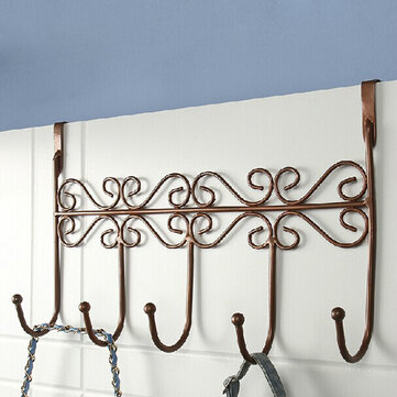 Euro Style Iron Art Back Door Hanger Hook With 5 Hook 3 Colors
