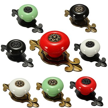 Ceramics Door Drawer Knob With Base Pull Handle 8 Styles
