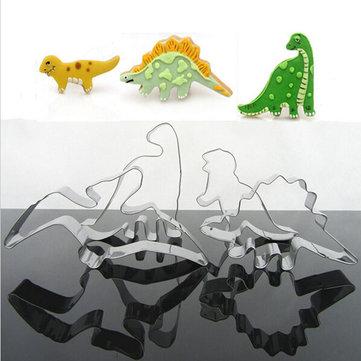 4 قطع المقاوم للصدأ ديناصور البسكويت كوكي القاطع أدوات
