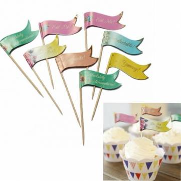 24 Buffet Party Food Cake Cup Cake decoration Topper Picks Flags