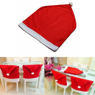 Christmas Santa Clause Red Hat Chair Cover Christmas Dinner Decor
