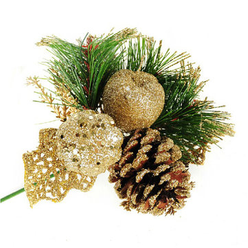 16cm Golden Pine Needle Pine Cones Christmas Tree Decoration Branches