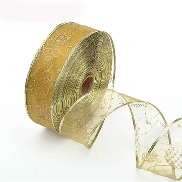 Gold Hot Stamping Ribbon Christmas Trees Decoration Supplies