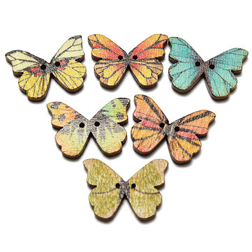 50Pcs Mixed Color Butterfly Wooden Buttons With Two Holes