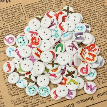 100Pcs Mixed Painted Letter Alphabet Wooden Button Sewing Scrapbooking