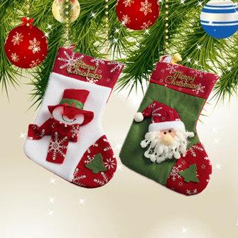 Christmas Santa Claus Stockings Big Bag Snowman Xmas Tree Ornaments