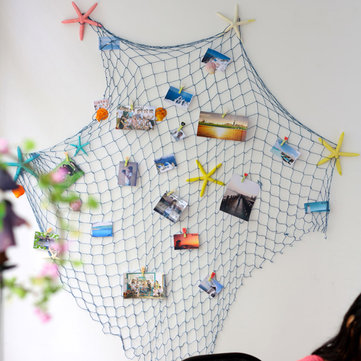 Mediterranean Style Decorative Fish Net With Shells Blue White