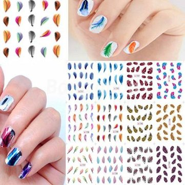 Colorful Glitter Leopard Feather Nail Art Stickers Flower Nail Decals