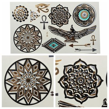 Gold Black Metallic Temporary Tattoos Body Art Sticker