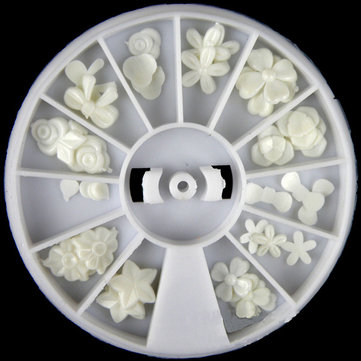 White Resin Flower Bowknot Nail Decoration Wheel