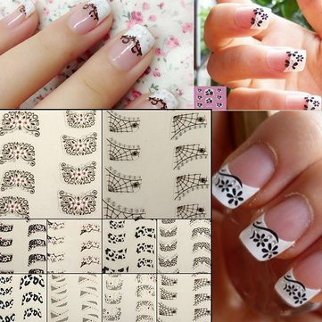 3D 4Pcs Lace Flower Design French Nail Art Sticker Decal Decoration