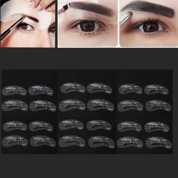 24Pcs Makeup DIY Eyebrow Stencils Shaping Model Templates Tool