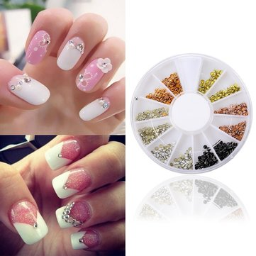 3D Half Round Beads Stud Nail Art Decoration Tip Wheel
