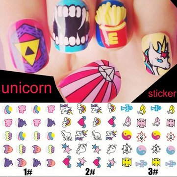 Waterproof Unicorn Decal Eyes Rainbow Pattern Nail Art Sticker