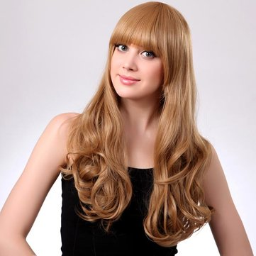 Blonde Neat Bang Hairstyle Synthetic Curly Long Wig