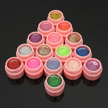16 Pots Glitter Powder UV Builder Gel Nail Art Decoration Set