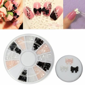 Colorful Black White Pink Bowknot Pattern Nail Art Decoration Wheel