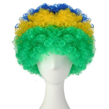 Brazil National Flag World Cup Fans Synthetic Cosplay Party Wigs