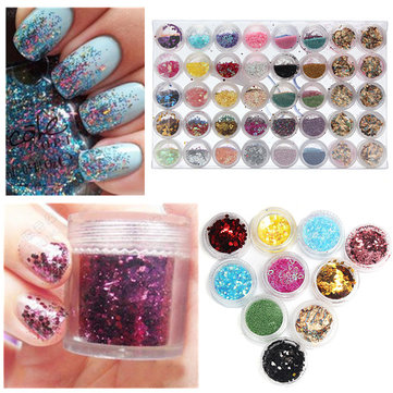 80 Colors Shiny Sequins Glitter Nail Art Decoration Set