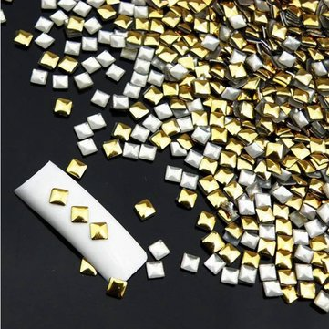 1000Pcs 3D Square Stud Metallic Gold Nail Art Decoration