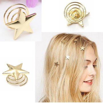 Alloy Gold Star Swirl Spring Hair Pin Hairpin Clip Decoration