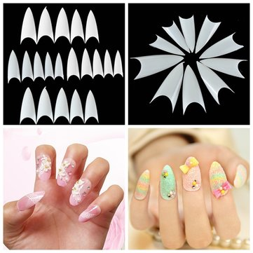 500Pcs Shape Natural Color White Acrylic False Nail Tips Full Nails