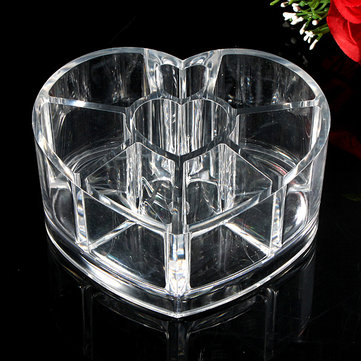 Heart Shape Acrylic Cosmetic Organizer Makeup Container