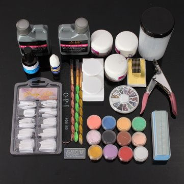Glitter Acrylic Nail Art Manicures Powder File Primer Tips Kit Set