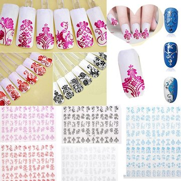 108Pcs 1 Sheet Flower Lace Adhesive Nail Art Sticker Decal Decoration