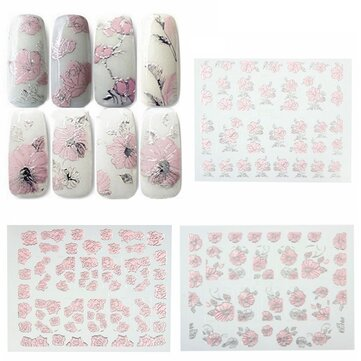 Pink Adhesive Flower Designed Nail Art Sticker Decal