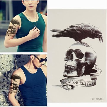 Waterproof Eagle Skull Temporary Tattoo Body Art Sticker Removable