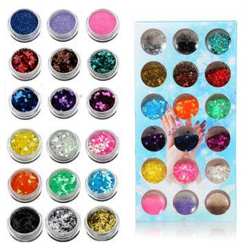 18 Colors Nail Art Star Fragment Hybrid Shiny Glitter Powder Set