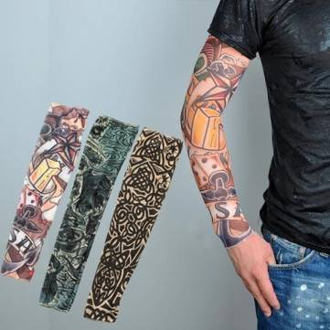 1 PCS Demon Skull Nylon Stretchy Fake Arm Tattoo Sleeve Stocking