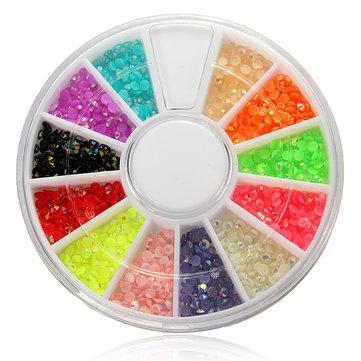 12 Colors Shiny Glitter Rhinestones Nail Art Decoration Wheel