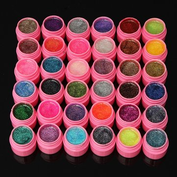 36 Colours Glitter Acrylic UV Gel Builder Polish Set